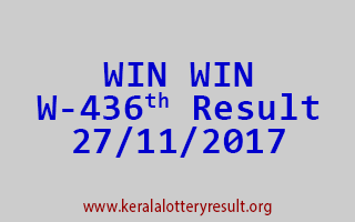 WIN WIN Lottery W 436 Results 27-11-2017