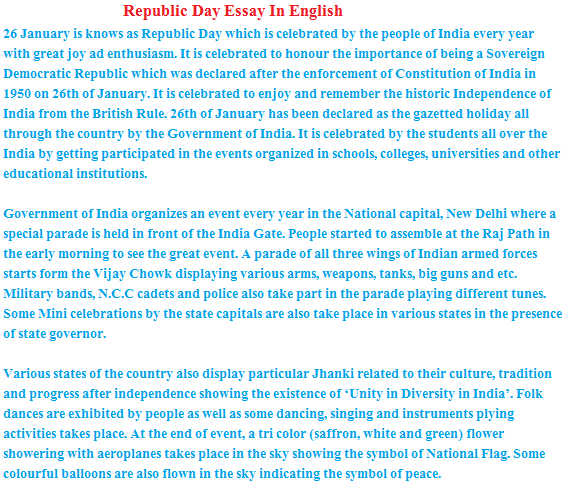 Republic Day  Essay Lines For Children   January   Essay On Republic Day  January For Class      Th Students