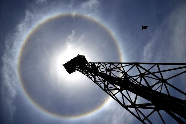 A bright circular halo around the sun seen over the skies of Coimbatore. sun halo, rare phenomenon on sky