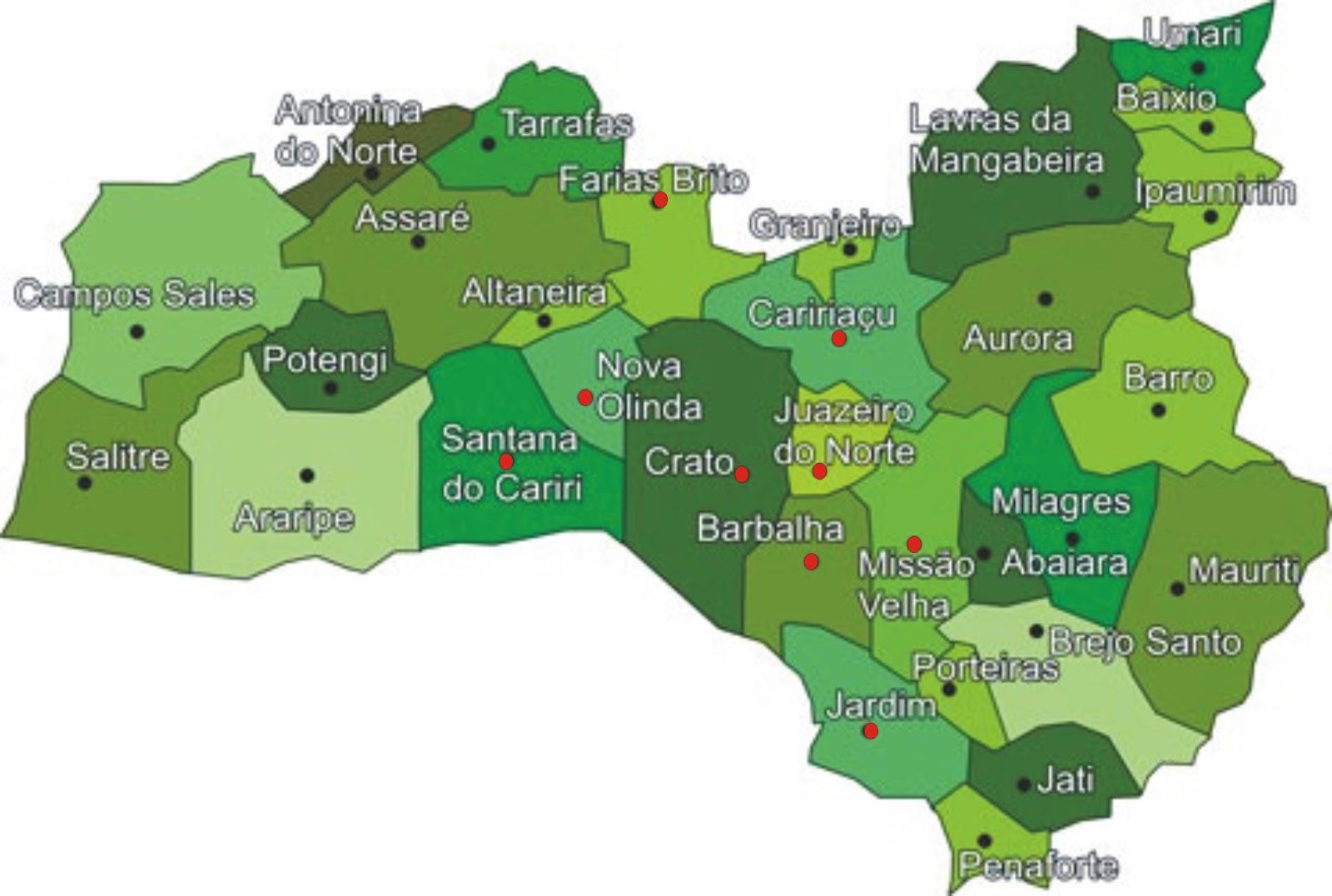 crato mapa Blog do Crato: População da Diocese de Crato ultrapassou 1 milhão  crato mapa