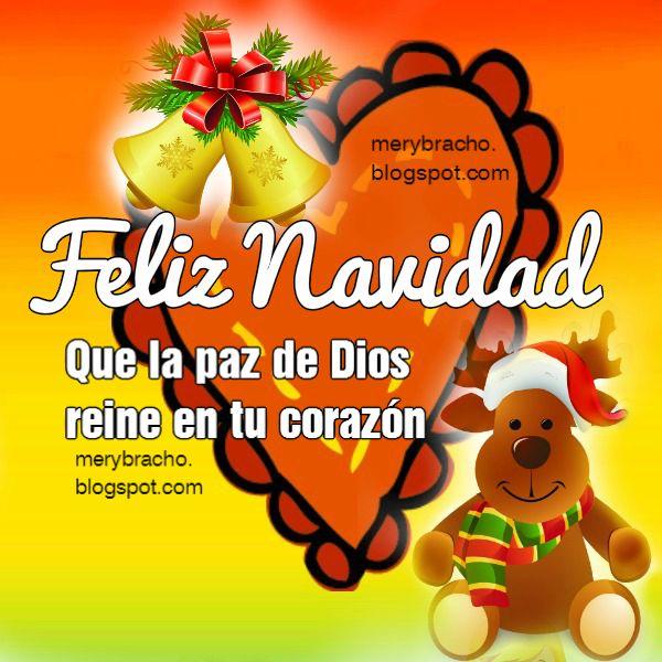imagen con corazón y reno navideño frases de feliz navidad en bonita tarjeta.