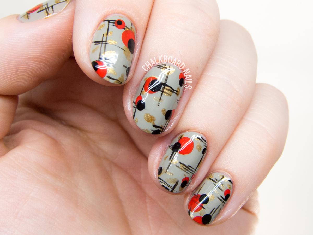 Mid century modern nail art by @chalkboardnails