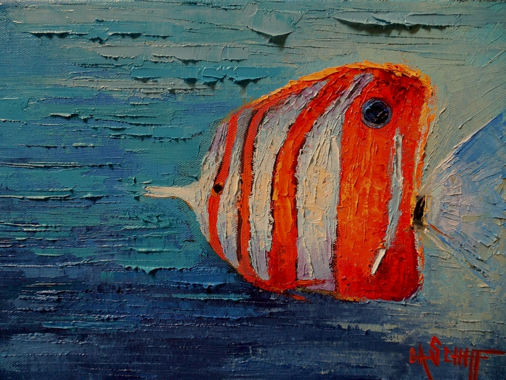 Carol Schiff Daily Painting Studio Tropical Fish Painting