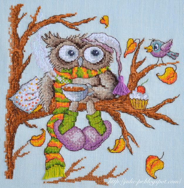Марья Искусница 07.002.08 Утренний кофе, вышивка крестом, сова, осень