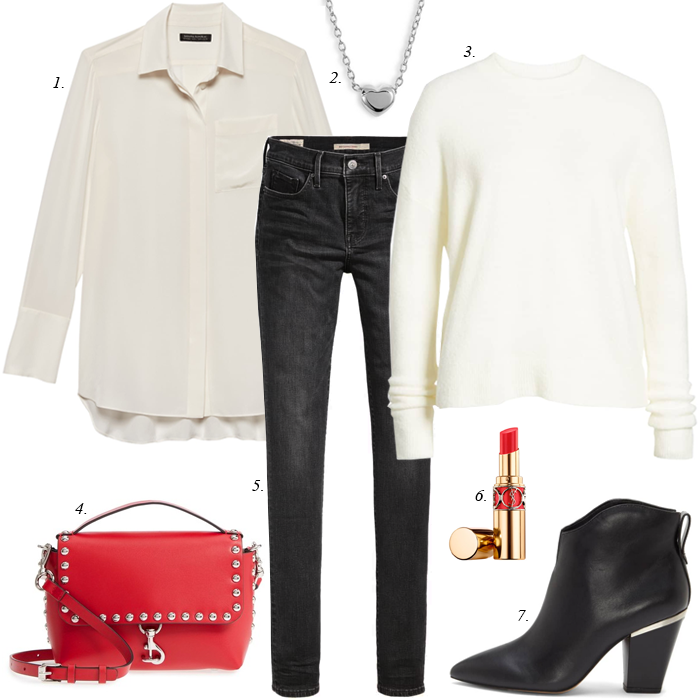 red rebecca minkoff bag, grey jeans, white sweater, black boots
