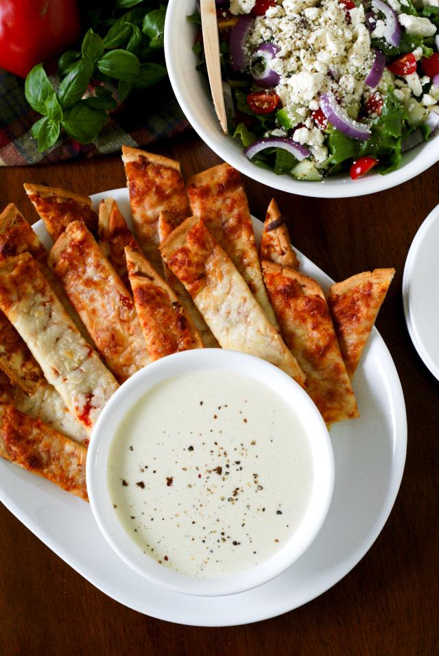 Pizza Sticks with Three Cheese Alfredo Dip   thetwobiteclub.com