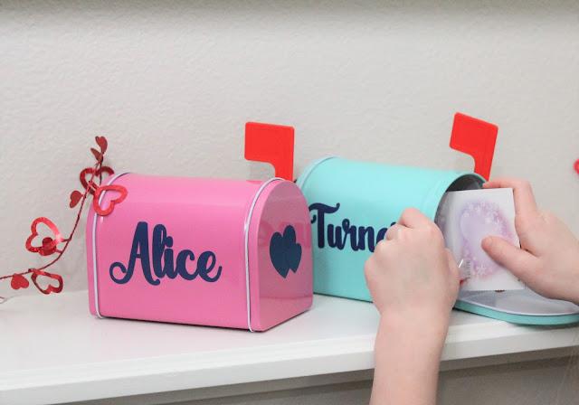 DIY Valentine mailboxes made with vinyl