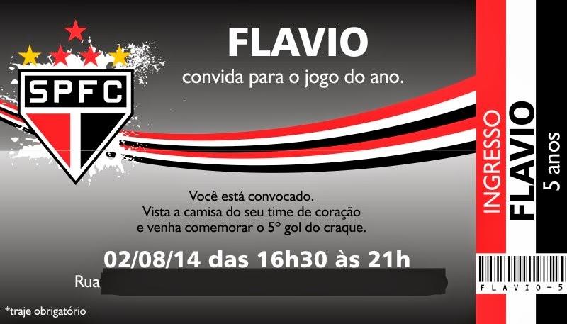 Mãe Sem Frescura - Dicas para Aniversário de 5 anos - Tema Futebol (São Paulo) - convite ingresso