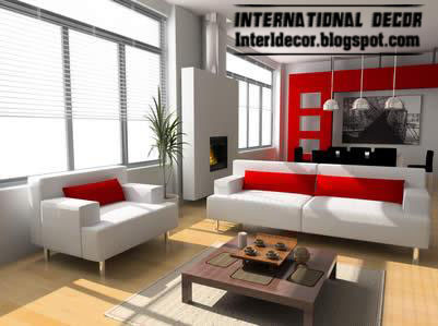Modern Design Of Living Room Red And White Paint Furniture 290913