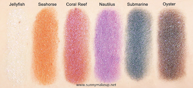 Swatch (applicazione asciutta) Neve Cosmetics - Sisters of Pearl. Ombretti minerali: Jellyfish, Seahorse,  Coral Reef, Nautilus, Oyster, Submarine.