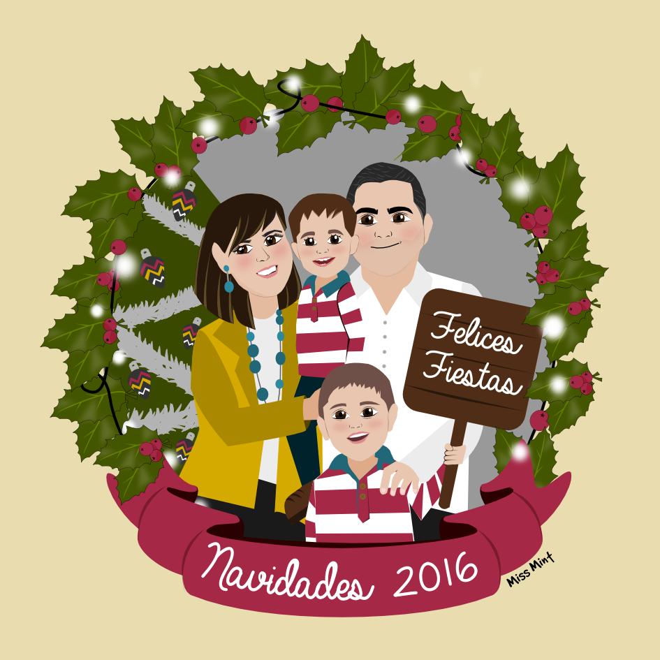 felicitacines navideñas ilustradas, ilustraciones personalizadas miss mint