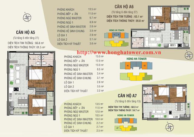 Mặt bằng thiết kế căn hộ A5, A6 và A7, Hồng Hà Tower