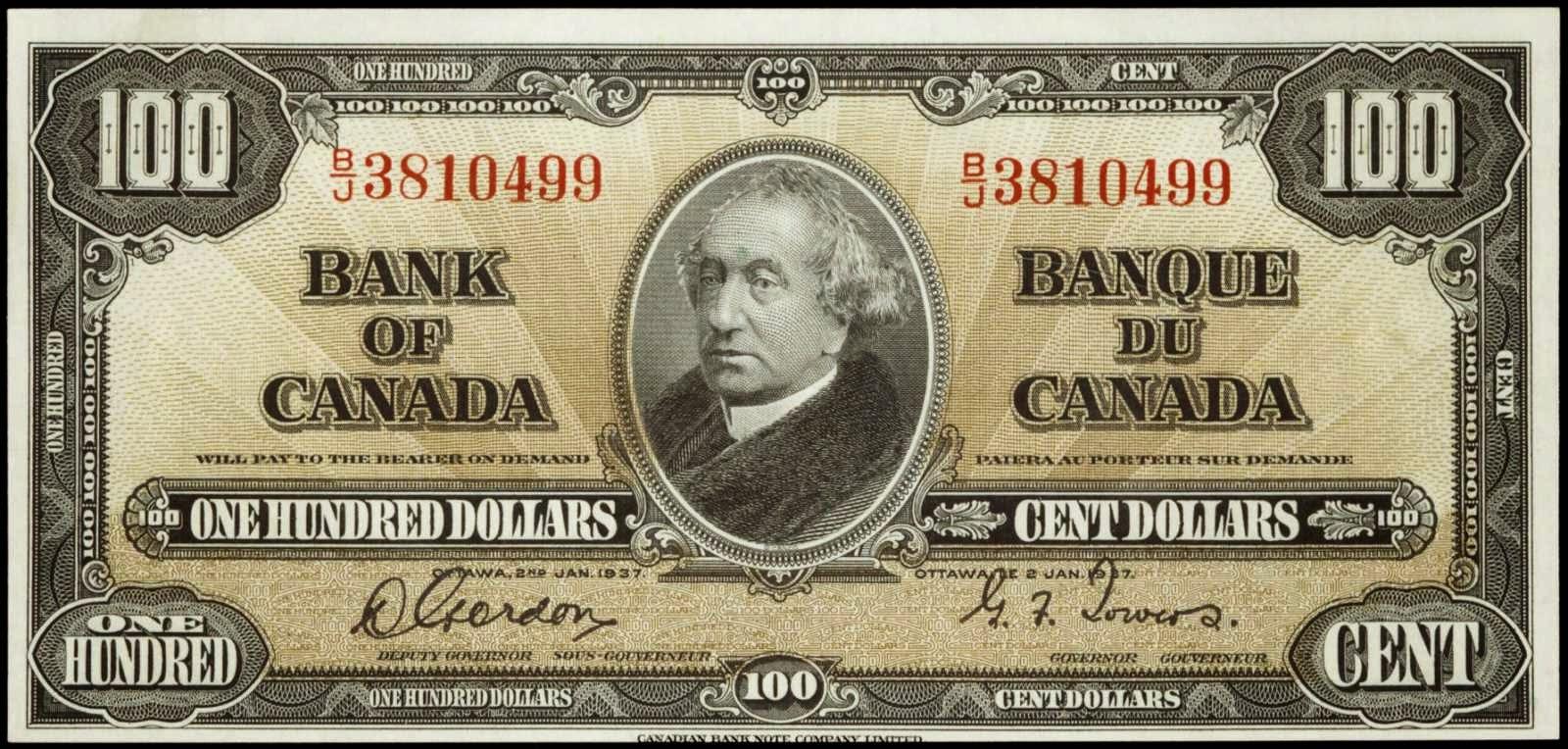 Canadian banknotes 100 Dollars 1937