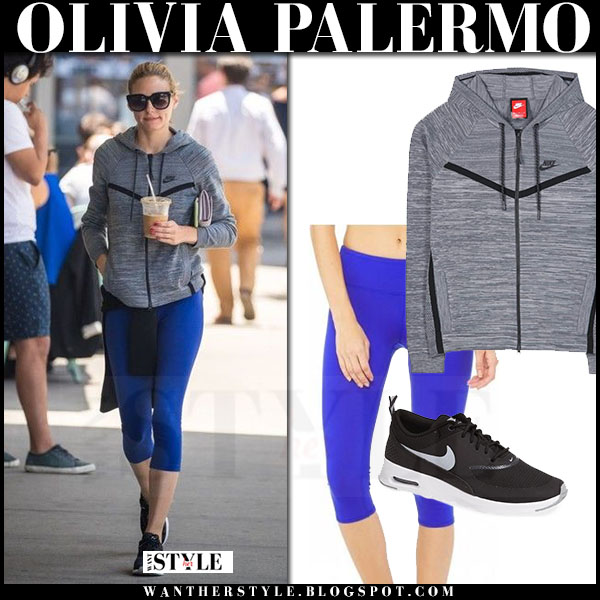 Olivia Palermo in grey nike tech hoodie, blue alo yoga leggings and black sneakers nike what she wore workout style