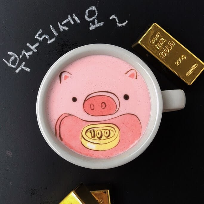 10-In-Korea-the-pig-means-good-luck-Lee-Gwan-Bin-Famous-Paintings-in-Coffee-Food-Art-www-designstack-co