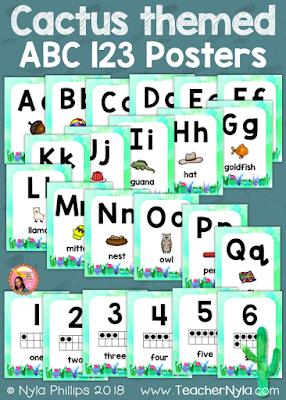 ABC 123 Cactus Posters