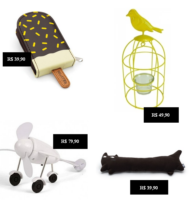 Kit manicure formato picolé, porta velas formato gaiola, ventilador formato avião, apoio para teclado formato gato