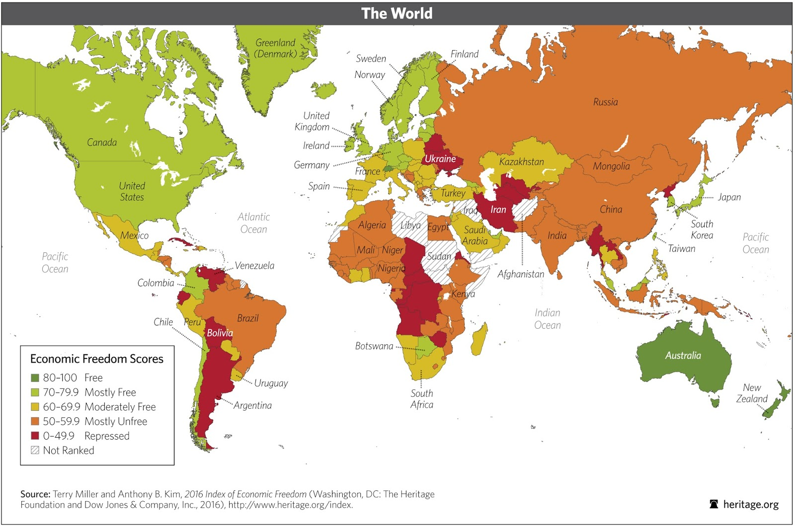 World Economic Freedom Scores, 2016