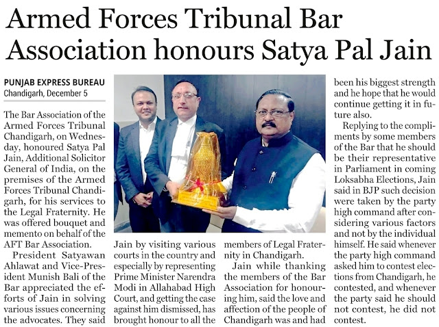 Armed Forces Tribunal Bar Association honours Satya Pal Jain