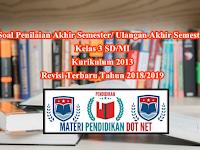 Soal Penilaian Akhir Semester/ Ulangan Akhir Semester Kelas 3 SD/MI Kurikulum 2013 Revisi Terbaru Tahun 2018/2019
