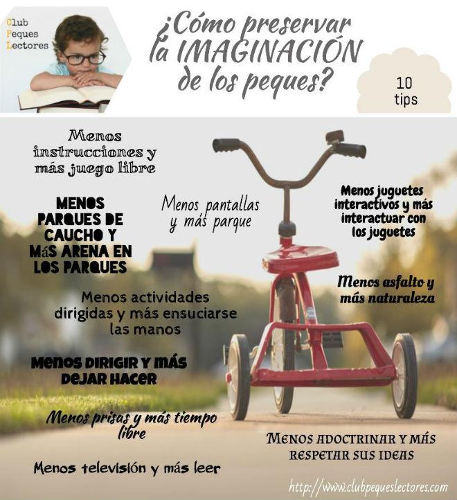 infografia con 10 tips para preservar la imaginación de los niños
