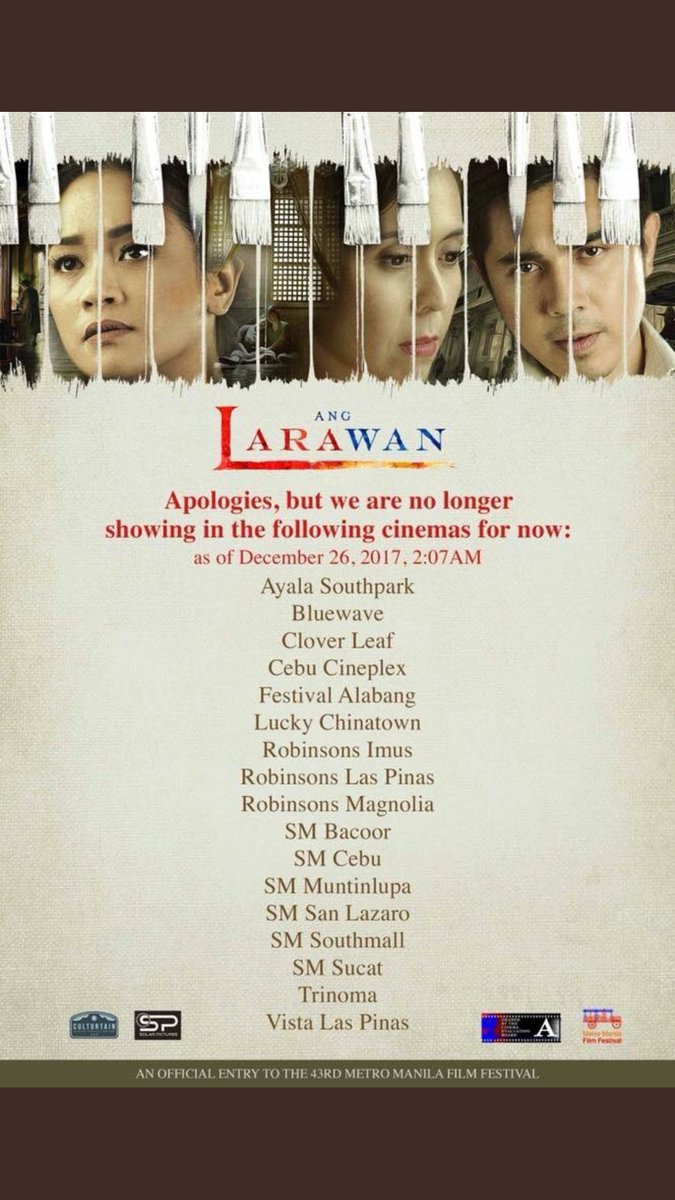 "MMFF 2017: After just one day, ""Ang Larawan"" pulled out in some cinemas"