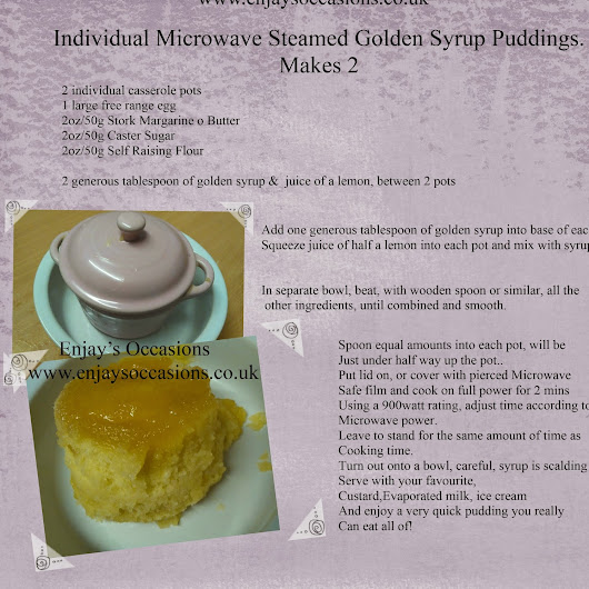 E.C.P: Individual Golden Syrup Steamed Puddings, using a Microwave, cooked in less than 5 minutes!