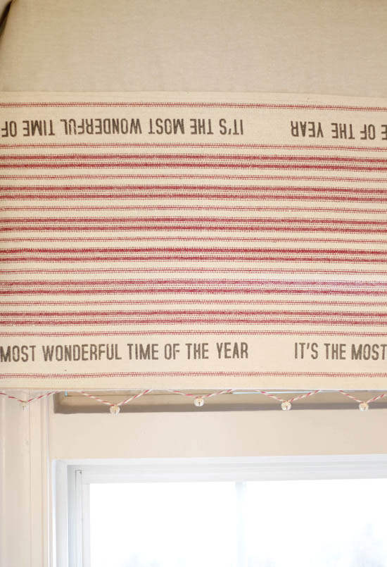 It's the most wonderful time of the year table runner used as window valance