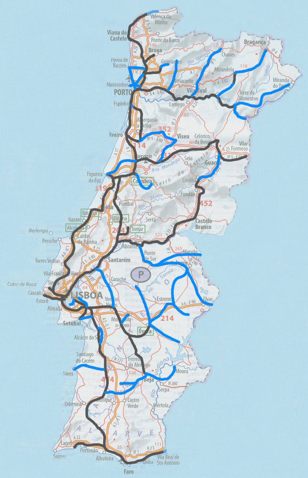 mapa de portugal com autoestradas A Nossa Terrinha: Ferrovia e autoestradas (mapas) mapa de portugal com autoestradas