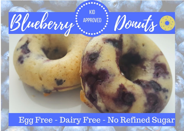 Donuts! So fun, easy to eat and such a treat. It is bursting with blueberries, with it's cake like texture. Best of all, it is dairy free, egg free, with no refined sugar, and passed the kids approved list! Yeah-a!
