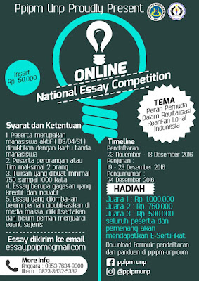 Informasi Lomba National Essay Competition Online by Universitas Negeri Padang Deadline 18 Desember 2016