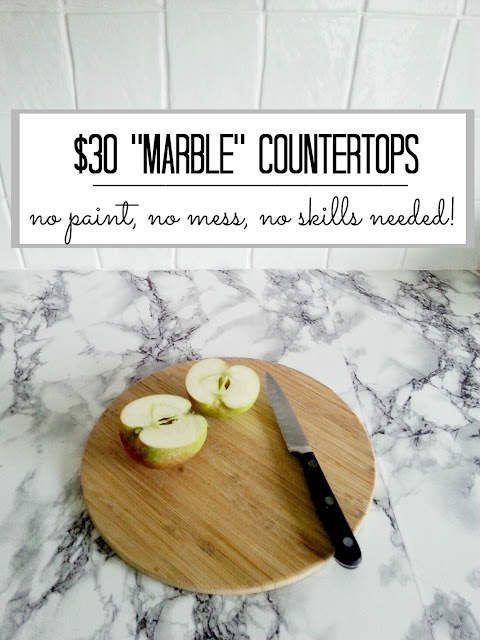diy super cheap, easy marble look counters done with contact paper. www.makedoanddiy.com