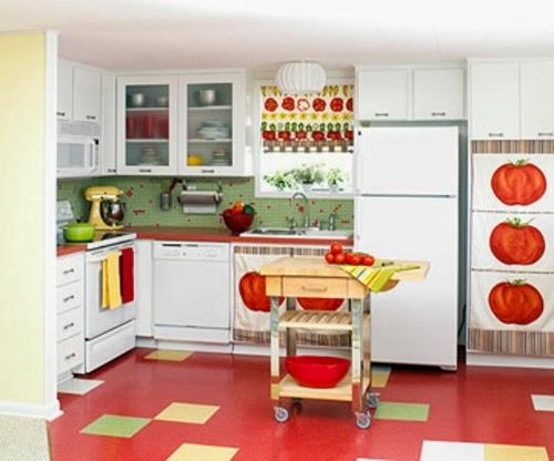 Cocinas color rojo y blanco colores en casa for Accesorios decorativos para cocina