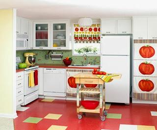 cocina blanco con rojo