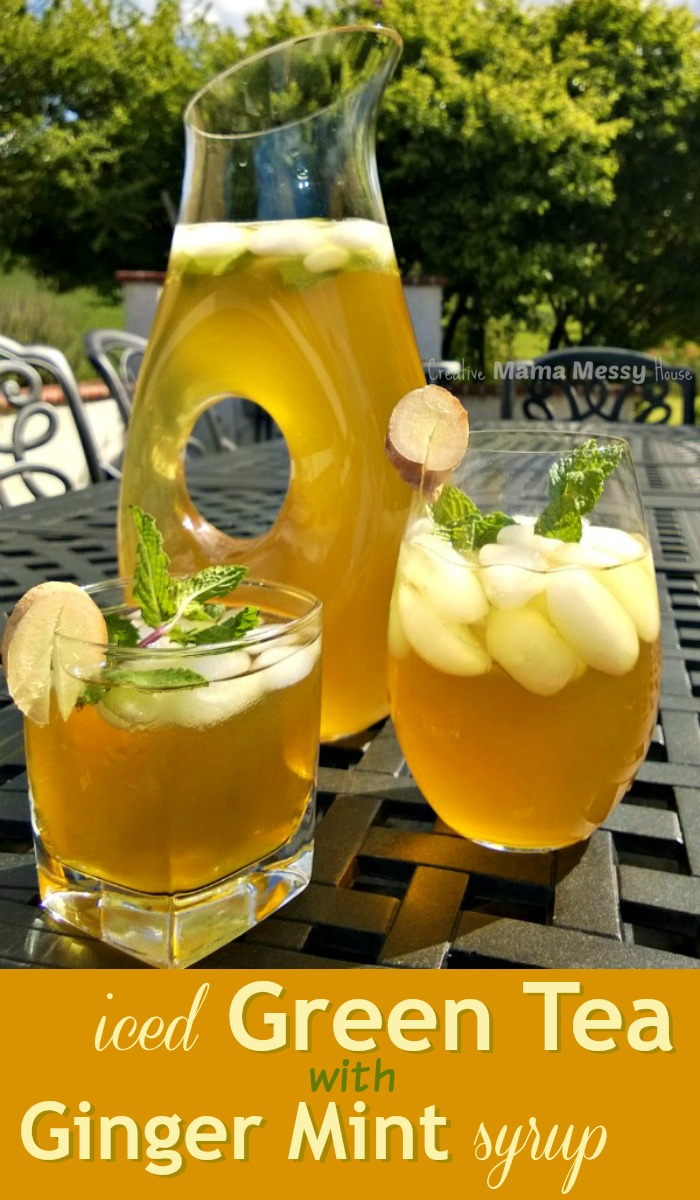 An exceptional summertime sipper! Iced Green Tea with Ginger Mint Syrup. Not too sweet, but very refreshing!