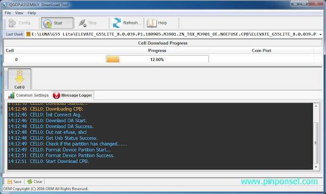 klik start untuk menjalankan proses flashing luna g55 lite menggunakan qgdp