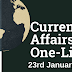 Current Affairs One-Liner: 23rd January 2020