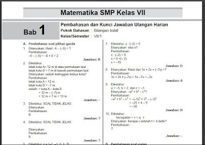 Kumpulan Soal Kunci Jawaban Dan Pembahasan Matematika Smp Kelas 7 Semester 1 Guru Jumi
