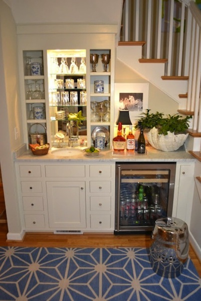 Sweet Chaos Home Wet Bar Under The Stairs | Bar Counter Design Under Stairs