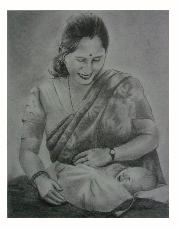 Its a pensil sketch of a mother holding her child on her lap