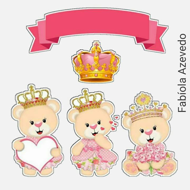 Teddy Bear Princess in Pink Free Printable Cake Toppers.