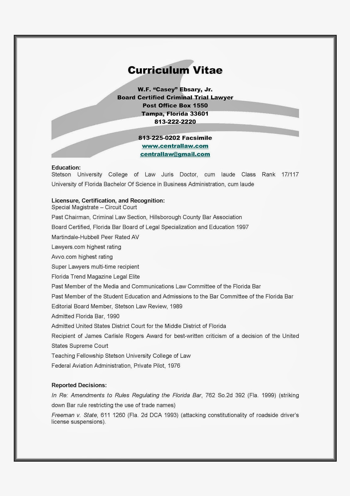 Law resume bar admissions