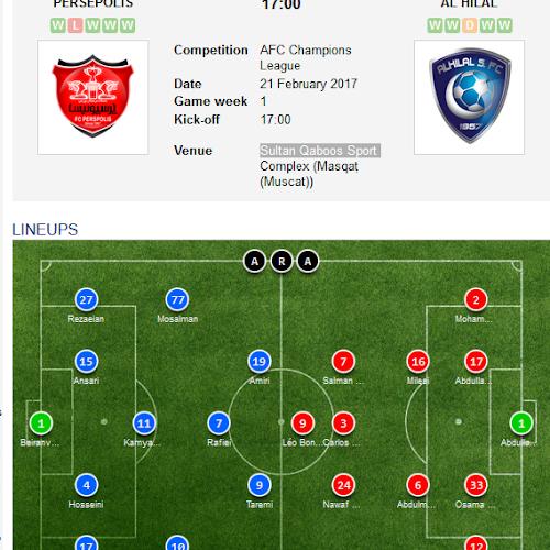 On Air Persepolis Vs Al Hilal Afc Champions League 2016 2017 Koorafikolmakan