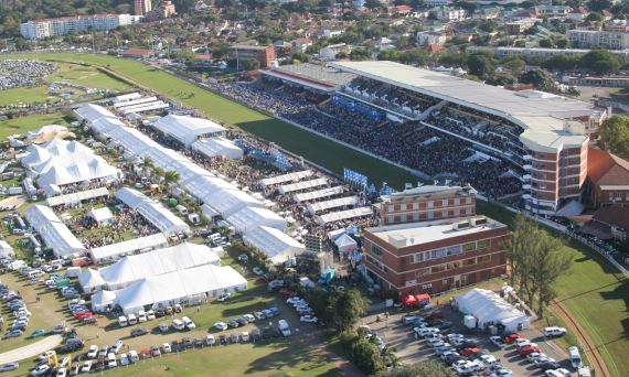 Greyville Racecourse - aerial shot - Vodacom Durban July day