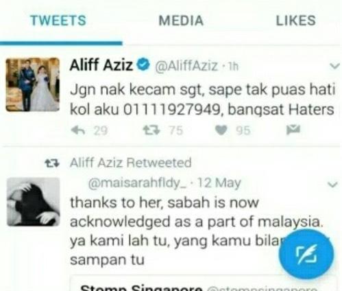 Aliff Aziz Ajak Peminat Bergaduh