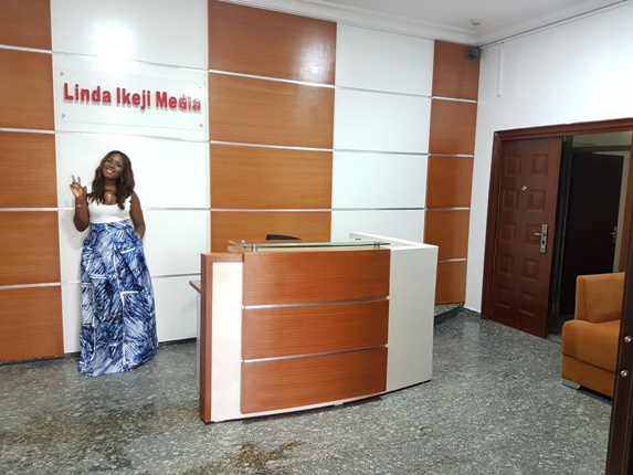 Linda Ikeji's front desk office