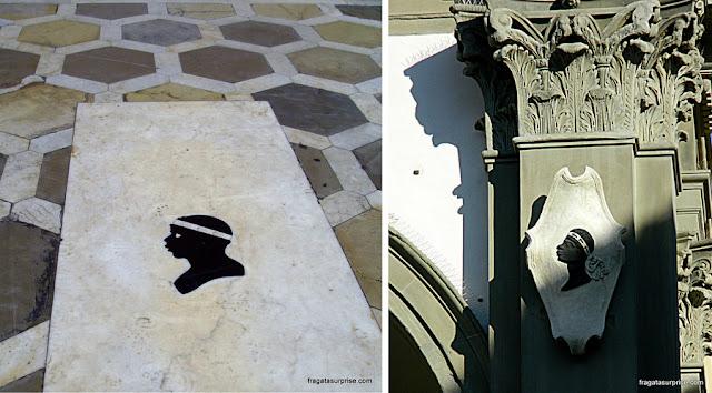 """""""Cabeça de Mouro"""", emblema da Família Pucci de Florença, na - Basílica da Santissima Annunziata"""