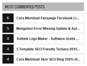 Daftar Posting Terbanyak Dikomentari