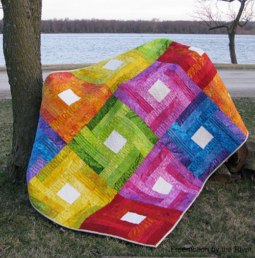 Rainbow Rail Fence Quilt Free Tutorial