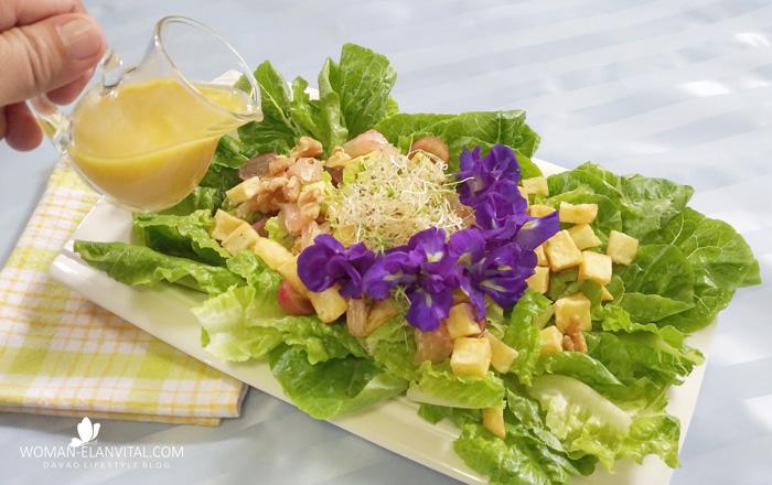 Cos-Blue Pea with US POTATO Crouton Salad in Dijon-Honey Vinaigrette